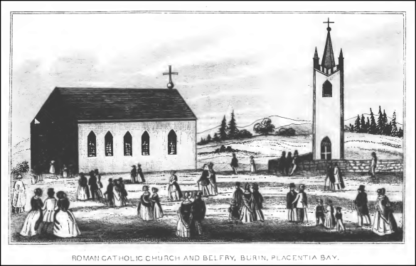 Roman Catholic Church and Belfrey, Burin, Placentia Bay (1849), Original from The Newfoundland Almanack 1849
