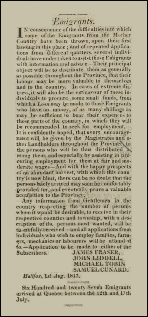 Letter to Emigrants, Acadian Recorder, Vol. 5, No. 32, August 9, 1817, Original held at the Nova Scotia Public Archives