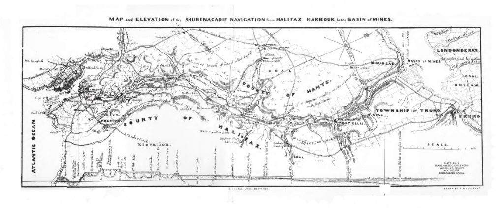 Map and Elevation of the Shubenacadie Navigation from Halifax Harbour to the Basin of Mines, 1883 (Keating/Hall)