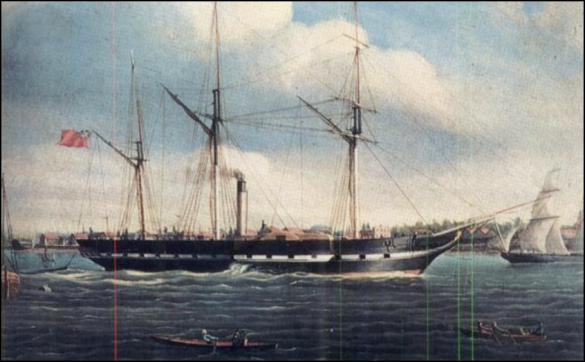 Painting of the SS Royal William, a side-wheel paddle ship - Boileau (1834)