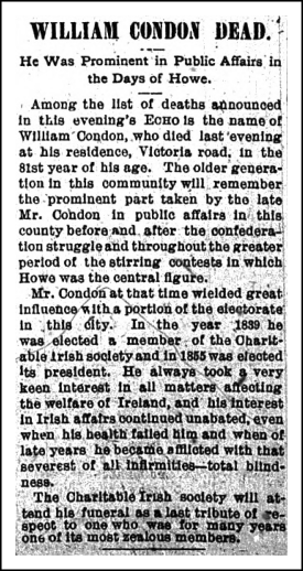 William Condon Sr., Obituary, 1899